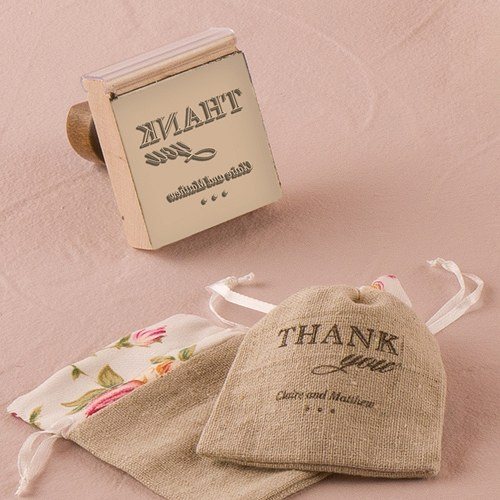 Burlap Chic Thank You Personalized Rubber Stamp Weddingstar
