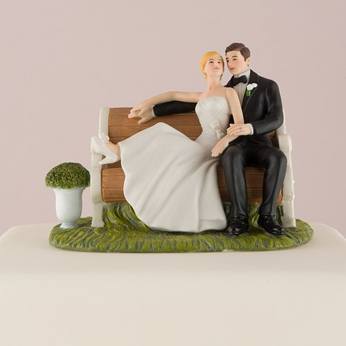 Couple Sitting On Bench Cake Topper