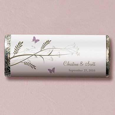Romantic Butterfly Chocolate Bar Wedding Favor