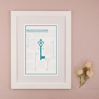 Key Monogram Personalized Signature Wedding Certificate