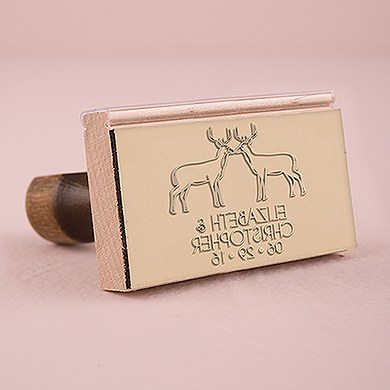 Woodland Style Deer Personalized Rubber Stamp
