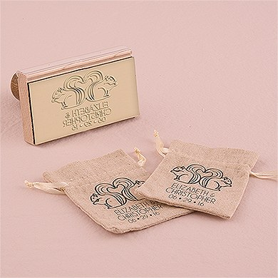 Woodland Style Squirrels And Heart Personalized Rubber Stamp