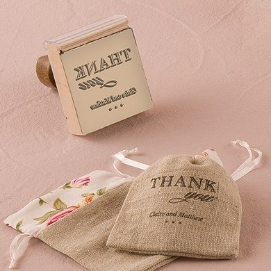 Burlap Chic Thank You Personalized Rubber Stamp