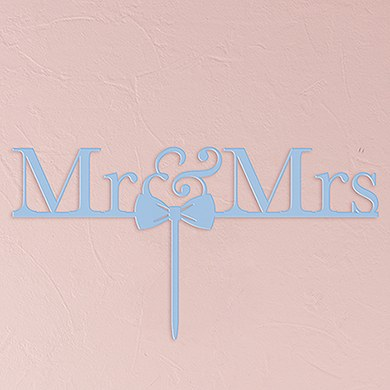 Mr & Mrs Bow Tie Acrylic Cake Topper   Pastel Blue