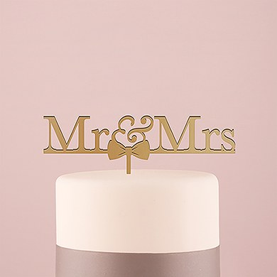 Mr & Mrs Bow Tie Acrylic Cake Topper   Metallic Gold