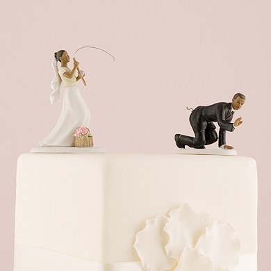 Fishing Bride And Groom Cake Topper