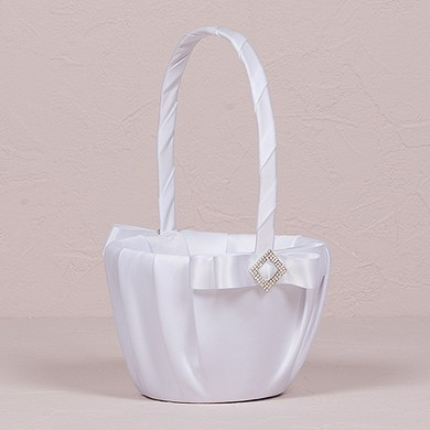 Ceremony Accessory Flower Girl Basket in White Elegance