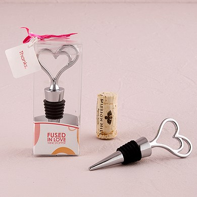 Fused in Love Double Heart Wedding Favor Wine Bottle Stopper