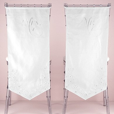 Linen Chair Banners with Embroidered Mr and Mrs Inscriptions