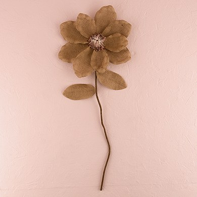 Oversized Decorative Jute Flower on a Stem