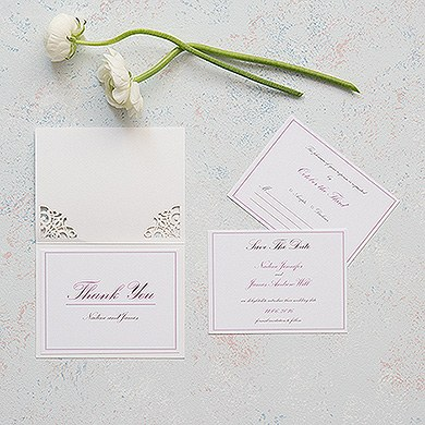 Pearl Romance Laser Embossed Accessory Cards with Personalization
