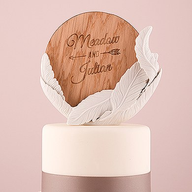 White Feather Porcelain Wedding Cake Topper with Personalized Veneer Disc in Free Spirit Design
