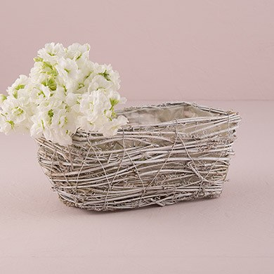 Tapered Wicker Basket with White Wash and Liner - Medium