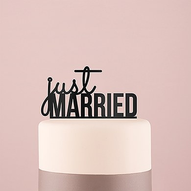 Just Married Acrylic Cake Topper   Black