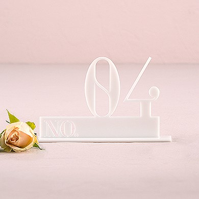 White Acrylic Table Number   Double Digit Style