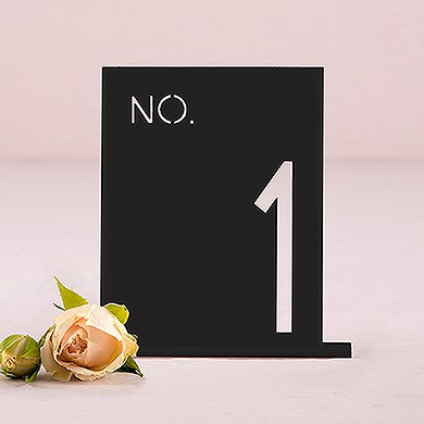 Black Acrylic Table Number   No. in Block Style