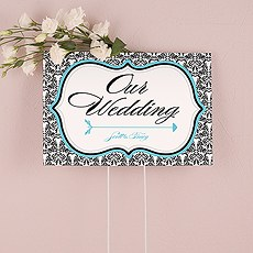 Love Bird Damask Wedding Directional Sign