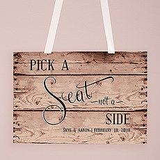 Rustic Pick A Seat Directional Poster Sign