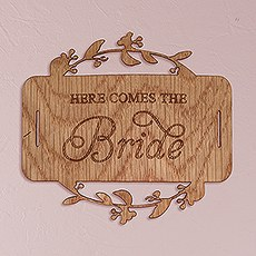 """Here Comes the Bride"" Wood Veneer Flower Girl Basket Sign"