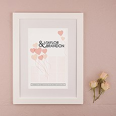 Balloon Hearts Personalized Signature Certificate with Frame