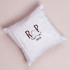 """Simply Sweet"" Personalized Vineyard Monogram Ring Pillow"