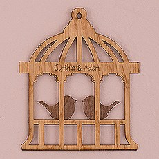 Personalized Wood Veneer Sign - Birdcage