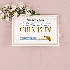 Vintage Travel Check In Directional Wedding Sign