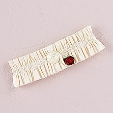 Flower of Love In Romantic Red Bridal Garter
