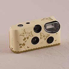 Butterfly Garden Ivory And Gold Single Use Camera
