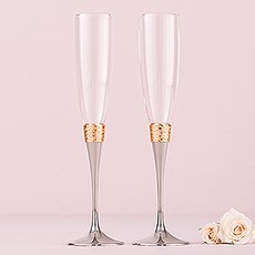 Hammered Gold and Polished Silver Wedding Champagne Glasses