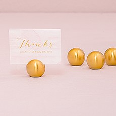 Classic Round Place Card Holder - Brushed Gold