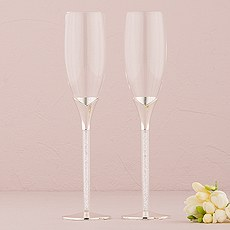 Wedding Champagne Glasses with Glass Gems in Stem