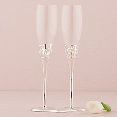 Silver Love Stem Holder And Glass Wedding Champagne Flutes