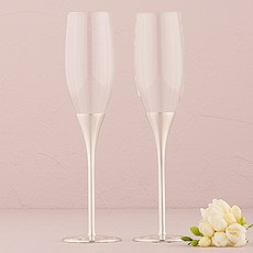 Silver Wedding Champagne Glasses with Crystal Gems