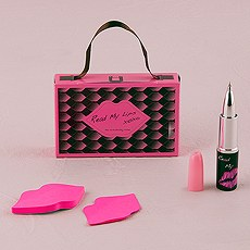 Hot Pink and Black Lipstick Pen and Lip Notes Favor