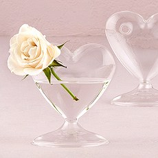 Miniature Clear Blown Glass Heart Vase