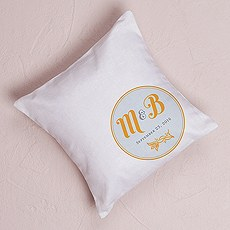"""Notable"" Personalized Ring Pillow with Circle Floral Monogram"