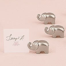 Lucky Elephant Card Holders with Brushed Silver Finish