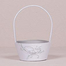 Love Bird in Classic White Flower Girl Basket