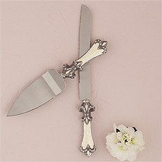 Decorative Fleur De Lis Cake Serving Set