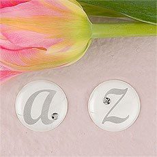 Monogram with Single Rhinestone Epoxy Sticker
