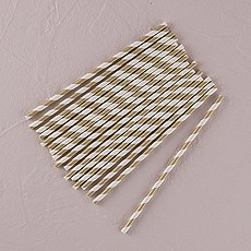 """Sippers"" Candy Striped Metallic Print Paper Straws"