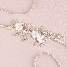 Embroidered Appliqué Bridal Garter - Ivory