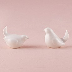Miniature Sitting Birds in White Ceramic