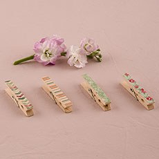 Vintage Wooden Clothespins with English Garden Pattern