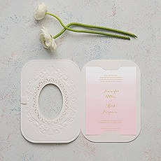 Embossed Pearls and Lace with Aqueous Personalization - Invitation