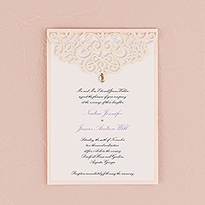 Pearl Romance Laser Embossed Invitations with Personalization