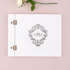 Monogram Simplicity Personalized Guest Book with White Acrylic Cover