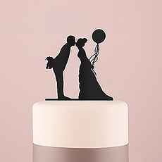 Leaning in Silhouette Acrylic Cake Topper - Black