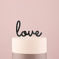 Love Acrylic Cake Topper - Black